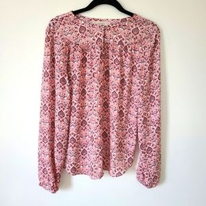 Loft paisley floral print key hole blouse